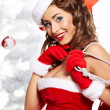 Portrait of beautiful sexy girl wearing santa claus clothes — Stok fotoğraf #7438499
