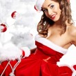 Portrait of beautiful sexy girl wearing santa claus clothes — Foto de Stock