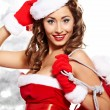 Portrait of beautiful sexy girl wearing santa claus clothes — Stock Photo #7466606