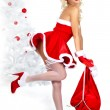 Pin-up sexy girl wearing santa claus clothes — Stock Photo #7466919