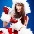 Royalty-Free Stock Photo: Portrait of beautiful sexy girl wearing santa claus clothes