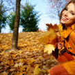 Woman in autumn park - Foto de Stock