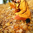 Woman in autumn park - Stock Photo