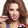 Woman eat desert — Stock Photo #7561942