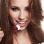 Woman eat desert — Stock Photo
