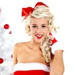 Pin-up sexy girl wearing santa claus clothes — Stock Photo #7562803