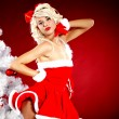 Pin-up sexy girl wearing santa claus clothes — Stock Photo #7562867