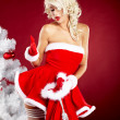 Pin-up sexy girl wearing santa claus clothes — Stock Photo #7562912