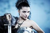 Warrior woman. Fantasy fashion idea. — Stock Photo