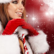 Beautiful sexy girl wearing santa claus clothes — Stock Photo #7581342