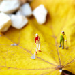 Stock Photo: Miniature figurine using rake to cleup of fallen leave