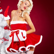 Pin-up sexy girl wearing santa claus clothes - Stock Photo