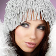 Portrait of beautiful brunette woman wearing sexy winter clothes — Stock Photo #7618370
