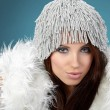 Portrait of beautiful brunette woman wearing sexy winter clothes — Stock Photo