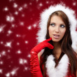 Portrait of beautiful sexy girl wearing santa claus clothes on r — Stock Photo #7618619