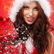 Happyl young woman with christmas gift box — Stockfoto