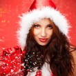 Happyl young woman with christmas gift box — Stockfoto #7619932