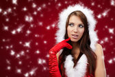 Portrait of beautiful sexy girl wearing santa claus clothes on r — Stock Photo