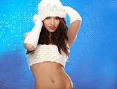 冬季时尚女孩有美丽化妆 — 图库照片