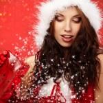 Happyl young woman with christmas gift box — Stock Photo #7620009