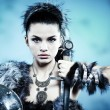 Warrior woman. Fantasy fashion idea. — Stock Photo