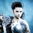 Warrior woman. Fantasy fashion idea. — Stock Photo #7716325