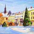 Winter scenery with illustrated city in the night — Stock Photo