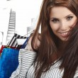 Beautiful shopping woman at a draw mall — Stock Photo