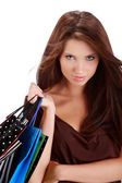 Woman with colorful shopping bags in her hand — Stock Photo
