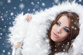Portret van een vrouw winter — Stockfoto