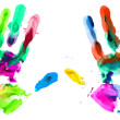 Close up of colored hands print — Stock Photo