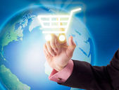 Hand and shopping cart icon — Stock Photo
