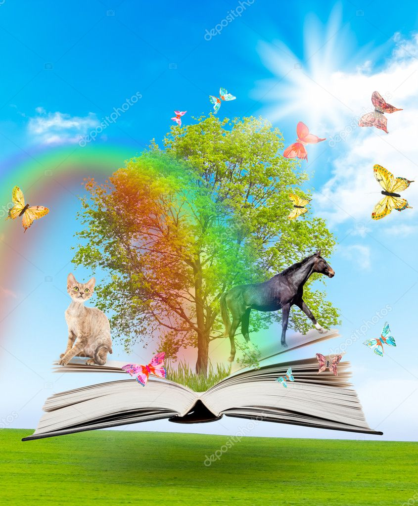 Magic book with a green tree and diferent animals on the background of nature. Symbol of knowledge. — Stock Photo #7189776