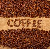 Le mot café sur jute — Photo
