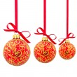 Three red Christmas balls — Photo