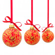 Three red Christmas balls — Stock Photo