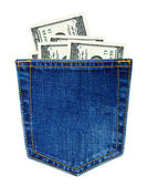 Jeans with money — Stock Photo