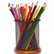 Colorful pencils in holder — Stock Photo