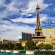 View on the replica of Eiffel Tower at Paris Hotel & Casino. Las - Stock Photo