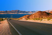 Road from Lake Mead near Hoover Dam. Nevada — Stock Photo