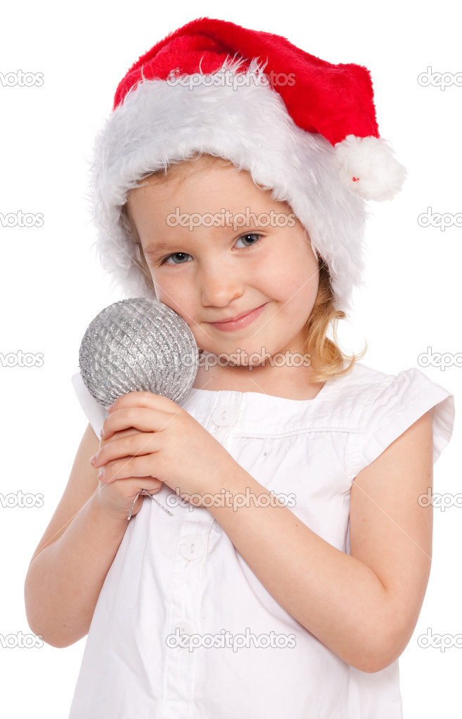 Little girl in christmas hat  Stock Photo #6883264