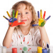 Girl, draws paint — Stock Photo