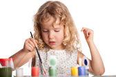 Dziewczyna, rysuje farby — Zdjęcie stockowe