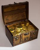 Open box full with money — Stock Photo