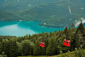 View from Zwolferhorn on Wolfgangsee with cabel car — Stock Photo