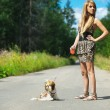 Beautiful woman with dog leash — Stock Photo #6890763