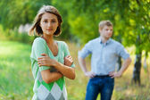 Man behind woman front — Stock Photo