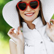 Beautiful woman hat sunglasses — Stock Photo