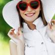 Beautiful woman hat sunglasses — Stock Photo #6994237