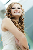 Portrait long-haired girl — Stock Photo